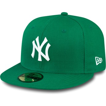 Cappellino visiera piatta verde aderente 59FIFTY Essential di New York Yankees MLB di New Era