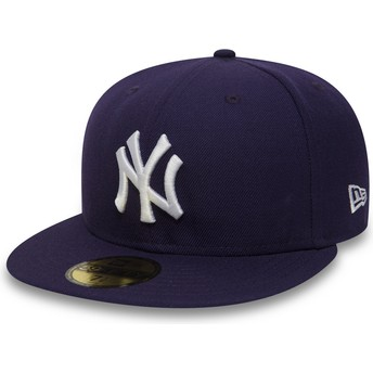 Cappellino visiera piatta viola aderente 59FIFTY Essential di New York Yankees MLB di New Era