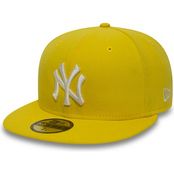 Cappellino visiera piatta giallo aderente scuro 59FIFTY Essential di New York Yankees MLB di New Era
