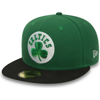 Cappellino visiera piatta verde aderente 59FIFTY Essential di Boston Celtics NBA di New Era