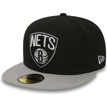 Cappellino visiera piatta nero aderente 59FIFTY Essential di Brooklyn Nets NBA di New Era