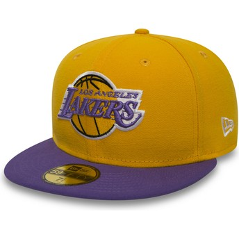 Cappellino visiera piatta giallo aderente 59FIFTY Essential di Los Angeles Lakers NBA di New Era