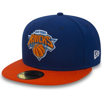 Cappellino visiera piatta blu aderente 59FIFTY Essential di New York Knicks NBA di New Era