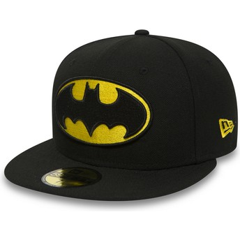 Cappellino visiera piatta nero aderente 59FIFTY Batman Character Essential Warner Bros. di New Era