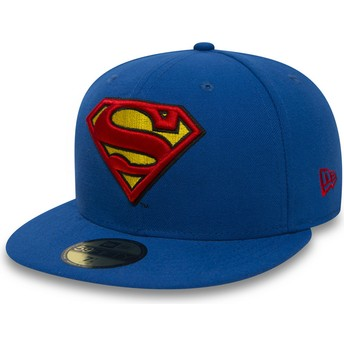 Cappellino visiera piatta blu aderente 59FIFTY Superman Character Essential Warner Bros. di New Era