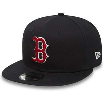 Cappellino visiera piatta blu marino regolabile 9FIFTY Essential di Boston Red Sox MLB di New Era