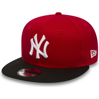 Cappellino visiera piatta rosso regolabile 9FIFTY Cotton Block di New York Yankees MLB di New Era