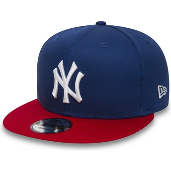 Cappellino visiera piatta blu regolabile 9FIFTY Cotton Block di New York Yankees MLB di New Era