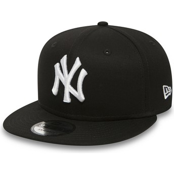 Cappellino visiera piatta nero regolabile 9FIFTY White on Black di New York Yankees MLB di New Era