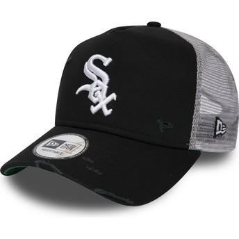 Cappellino trucker nero Distressed A Frame di Chicago White Sox MLB di New Era