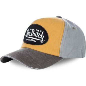 Cappellino visiera curva giallo e grigio regolabile JACKGOG di Von Dutch