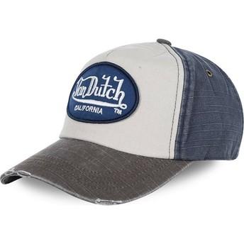 Cappellino visiera curva bianco, blu e grigio regolabile JACKMWB di Von Dutch