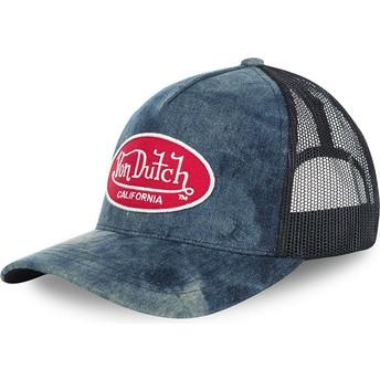 Cappellino visiera curva blu effetto denim regolabile MC92 di Von Dutch