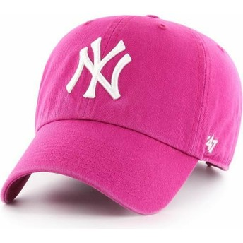 Cappellino visiera curva rosa orchidea di New York Yankees MLB Clean Up di 47 Brand