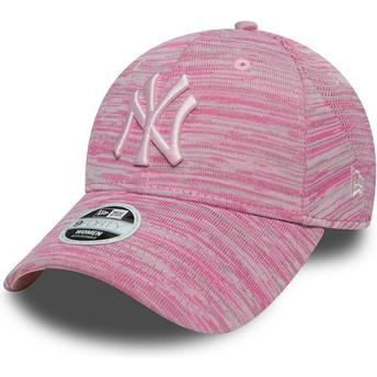 Cappellino visiera curva rosa regolabile con logo rosa di New York Yankees MLB 9FORTY Engineered Fit di New Era