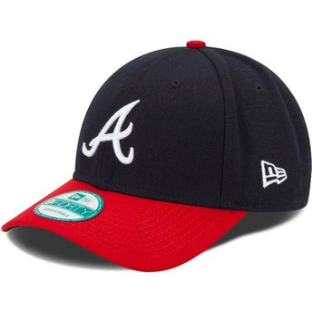 Cappellino visiera curva blu marino e rosso regolabile 9FORTY The League di Atlanta Braves MLB di New Era