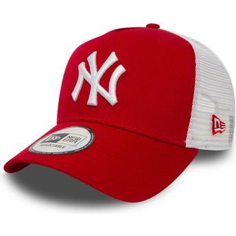 Cappellino trucker rosso Clean A Frame 2 di New York Yankees MLB di New Era
