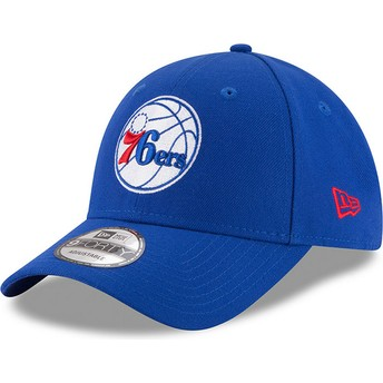 Cappellino visiera curva blu regolabile 9FORTY The League di Philadelphia 76ers NBA di New Era