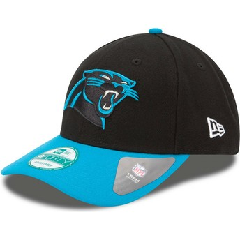 Cappellino visiera curva nero e blu regolabile 9FORTY The League di Carolina Panthers NFL di New Era