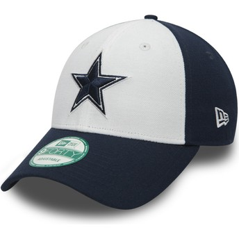 Cappellino visiera curva bianco e blu marino regolabile 9FORTY The League di Dallas Cowboys NFL di New Era