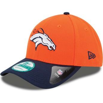 Cappellino visiera curva arancione e blu marino regolabile 9FORTY The League di Denver Broncos NFL di New Era