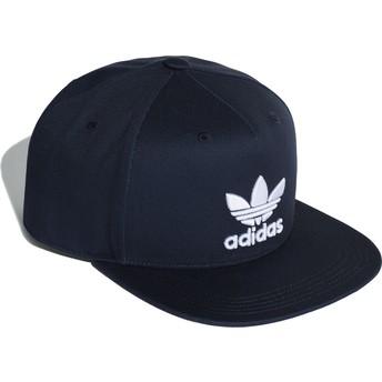 Cappellino visiera piatta blu marino snapback Trefoil di Adidas