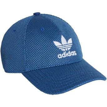 Cappellino visiera curva blu con logo bianco Trefoil Primeknit di Adidas
