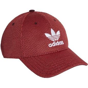 Cappellino visiera curva rosso e nero con logo bianco Trefoil Primeknit di Adidas