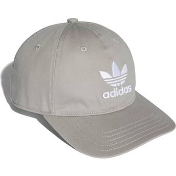 Cappellino visiera curva grigio regolabile Trefoil Classic di Adidas