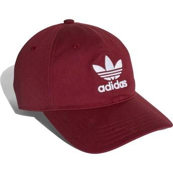 Cappellino visiera curva bordeaux regolabile Trefoil Classic di Adidas