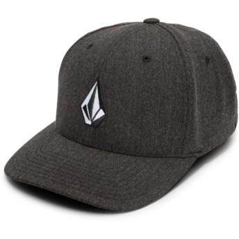 Cappellino visiera curva nero aderente Full Stone Hthr Xfit Charcoal Heather di Volcom