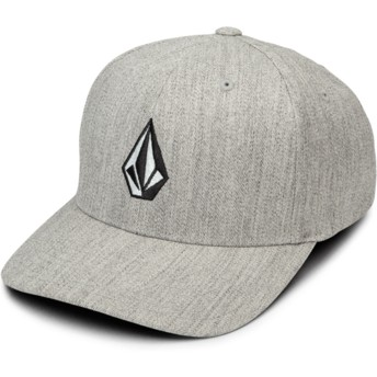 Cappellino visiera curva grigio aderente Full Stone Hthr Xfit Grey Vintage di Volcom