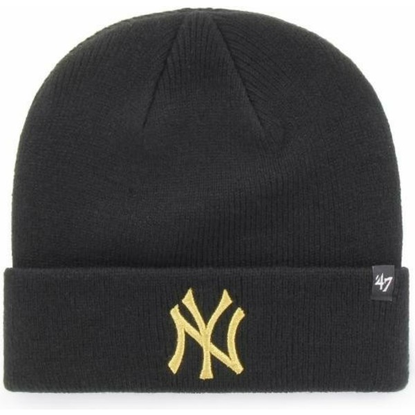 berretto-nero-con-logo-oro-di-new-york-yankees-mlb-cuff-knit-metallic-di-47-brand