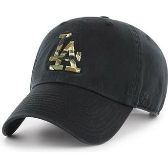 Cappellino visiera curva nero con logo mimetico di Los Angeles Dodgers MLB Clean Up Camfill di 47 Brand