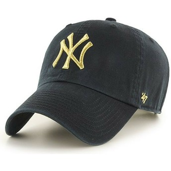 Cappellino visiera curva nero con logo oro di New York Yankees MLB Clean Up Metallic di 47 Brand