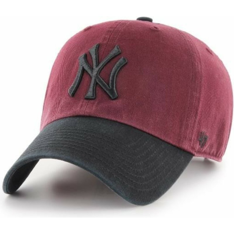 cappellino-visiera-curva-rosso-con-visiera-e-logo-nero-di-new-york-yankees-mlb-clean-up-two-tone-di-47-brand