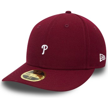 Cappellino visiera curva viola aderente 59FIFTY Low Profile Mini Logo di Philadelphia Phillies MLB di New Era