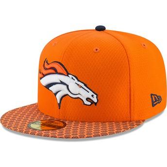Cappellino visiera piatta arancione aderente 59FIFTY Sideline di Denver Broncos NFL di New Era