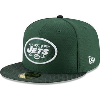 Cappellino visiera piatta verde aderente 59FIFTY Sideline di New York Jets NFL di New Era