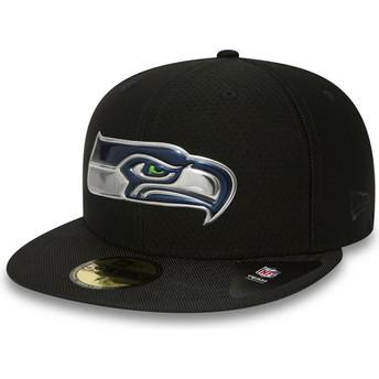 Cappellino visiera piatta nero aderente 59FIFTY Black Coll di Seattle Seahawks NFL di New Era