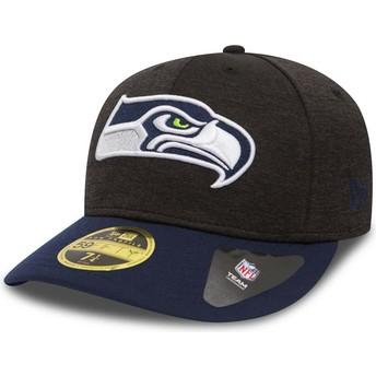 Cappellino visiera curva pietra e blu aderente 59FIFTY Low Profile Shadow Tech di Seattle Seahawks NFL di New Era