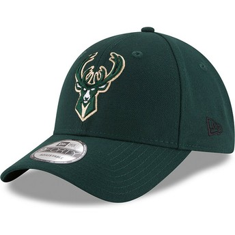 Cappellino visiera curva verde regolabile 9FORTY The League di Milwaukee Bucks NBA di New Era