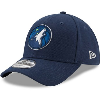 Cappellino visiera curva blu marino regolabile 9FORTY The League di Minnesota Timberwolves NBA di New Era