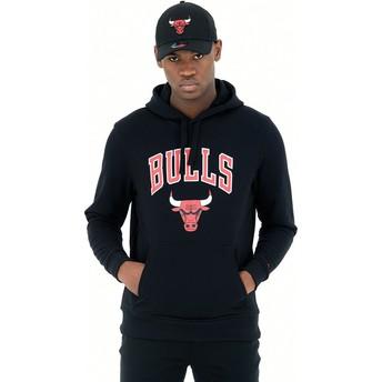 Felpa con cappuccio nera Pullover Hoody di Chicago Bulls NBA di New Era