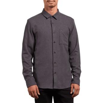 Camicia maniche lunghe nera Caden Solid Asphalt Black di Volcom