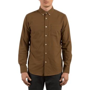 Camicia maniche lunghe marrone Oxford Stretch Mud di Volcom