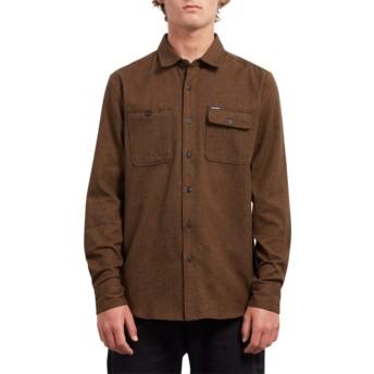 Camicia maniche lunghe marrone Hickson Update Hazelnut di Volcom