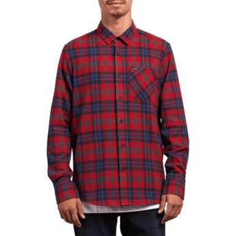 Camicia maniche lunghe rossa a quadri Caden Plaid Engine Red di Volcom