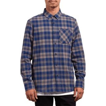Camicia maniche lunghe blu a quadri Caden Plaid Matured Blue di Volcom
