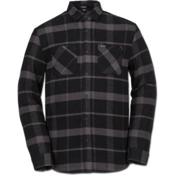 Camicia maniche lunghe nera a quadri Shader Black di Volcom